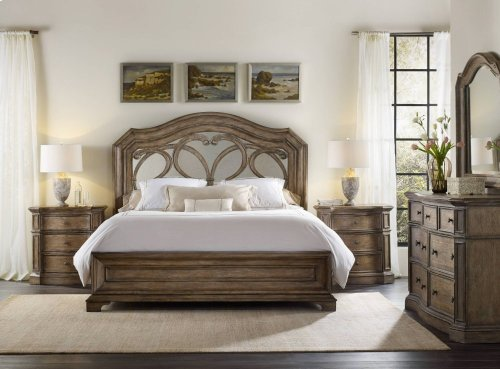 Solana King Mirrored Panel Bed