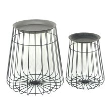 S/2 Black Metal Barrel Accent Tables