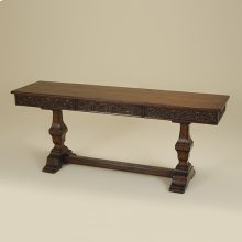 CATALAN FINISHED CONSOLE TABLE WITH WALNUT VENEERED T OP