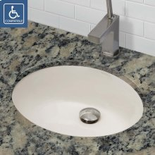 Carlyn Oval Biscuit Vitreous China Undermount Lavatory With Overflow - Ceramic Biscuit