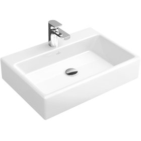 """Washbasin 24"""" Surface-mounted (Back of washbasin glazed) Angular - Glossy Black Ceramicplus"""