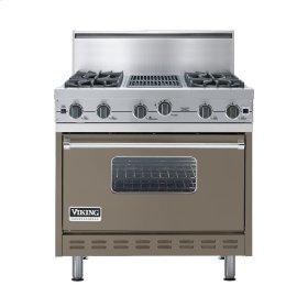 "Stone Gray 36"" Open Burner Commercial Depth Range - VGRC (36"" wide, four burners 12"" wide char-grill)"