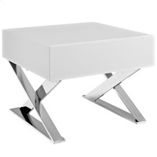 Sector Stainless Steel Nightstand in White