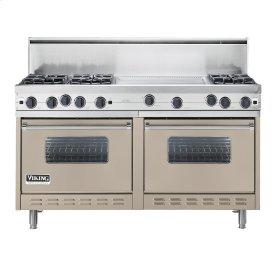"""Taupe 60"""" Open Burner Commercial Depth Range - VGRC (60"""" wide, six burners 24"""" wide griddle/simmer plate)"""