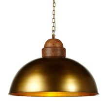 Large Gold Dome Pendant with Wood Turned Top. 60W Max. Hard Wire Only.