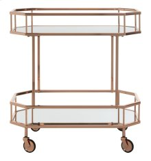 Silva 2 Tier Octagon Bar Cart - Rose Gold / Mirror