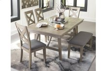 6 PIECE SET (TABLE, BENCH AND 4 CHAIRS)