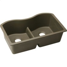 "Elkay Quartz Classic 33"" x 20"" x 9-1/2"", Equal Double Bowl Undermount Sink with Aqua Divide, Mocha"