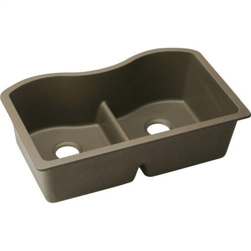 """Elkay Quartz Classic 33"""" x 20"""" x 9-1/2"""", Equal Double Bowl Undermount Sink with Aqua Divide, Mocha"""