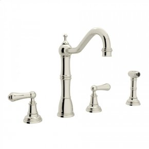 Polished Nickel Perrin & Rowe Edwardian 4-Hole Kitchen Faucet With Sidespray with Metal Lever
