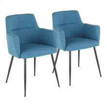 Andrew Chair - Set Of 2 - Black Metal, Teal Fabric