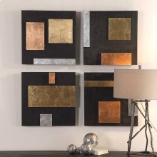 Mixed Metals Wood Wall Decor, S/4