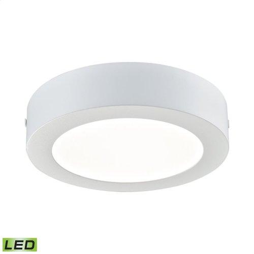 1 Light Round LED Flushmount in Matte White - Medium