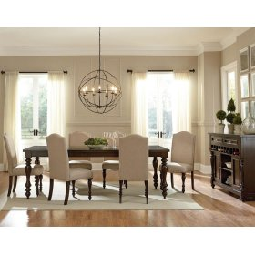 Leg Table, W/18 In. Leaf & 4 Upholstered Chairs