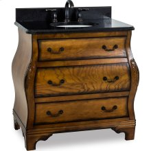 """34"""" vanity with a rich walnut burled finish and hand-carved botanical details with preassembled top and bowl"""