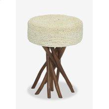 (LS) Surfside Stool With Cream Rafia Cushion (14x14x20)