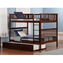 Woodland Bunk Bed Full over Full with Raised Panel Trundle Bed in Walnut