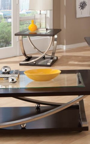 Square Cocktail Table, W/glass