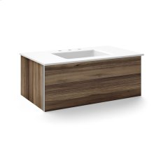 "V14 36-1/4"" X 14"" X 21"" Wall-mount Vanity In Smooth-leaved Elm With Slow-close Plumbing Drawer and 37"" Stone Vanity Top In Quartz White With Center Mount Sink and Single Faucet Hole"