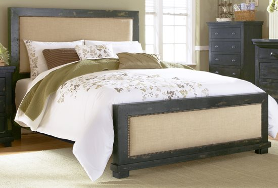 queen upholstered headboard and frame upholstered platform 50 queen upholstered headboard distressed black finish p61234 in by progressive furniture tylertown ms