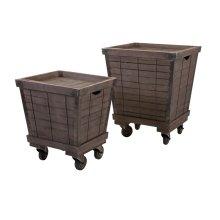 Ella Elaine Wood Cart Tray Side Tables - Set of 2