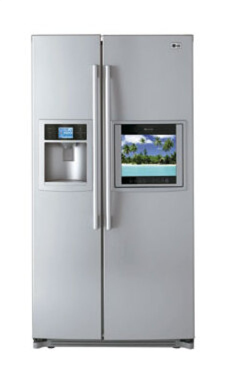 Ft. Total Capacity Side by Side TV REFRIGERATOR with HD Ready LCD Hidden. LG  Logo
