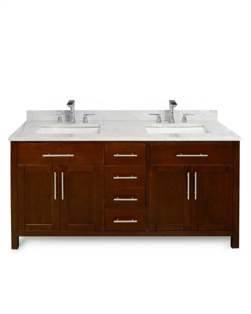Walnut Brown MALIBU 60-in Double-Basin Vanity Cabinet with Carrara Marble Stone Top and Karo 18x12 Sink