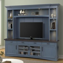 Americana Modern Denim 92 in. TV Console with Hutch with LED Lights
