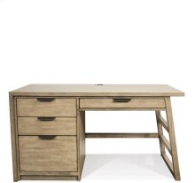 Perspectives Single Pedestal Desk Sun-drenched Acacia finish