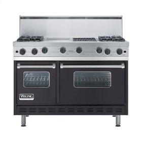 "Graphite Gray 48"" Open Burner Commercial Depth Range - VGRC (48"" wide, four burners 12"" wide griddle/simmer plate 12"" wide char-grill)"
