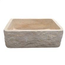 "McKinley Single Bowl Marble Farmer Sink - 24"" - Polished Egyptian Galala Marble"