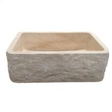 "McKinley Single Bowl Marble Farmer Sink - 24"" - Polished Egyptian Galala Marble"