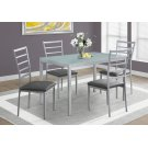 DINING SET - 5PCS SET / SILVER / FROSTED TEMPERED GLASS Product Image