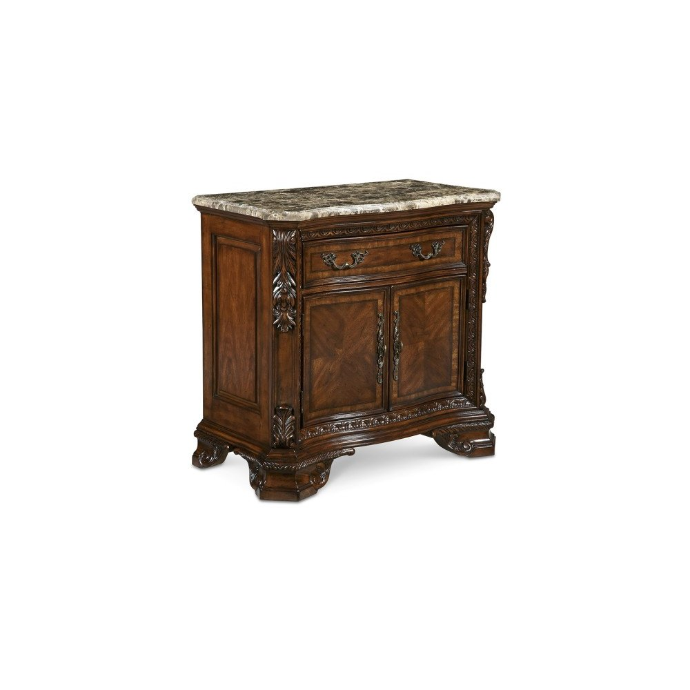 Old World Stone Top Door Nightstand