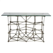 """Silver Leaf Iron Console Table With Rectangular 22"""" X 54"""" Glass Top"""