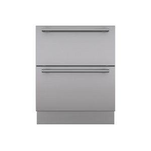 "Integrated Stainless Steel 27"" Drawer Panels with Tubular Handles"