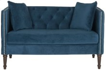 Sarah Tufted Settee With Pillows - Navy / Espresso
