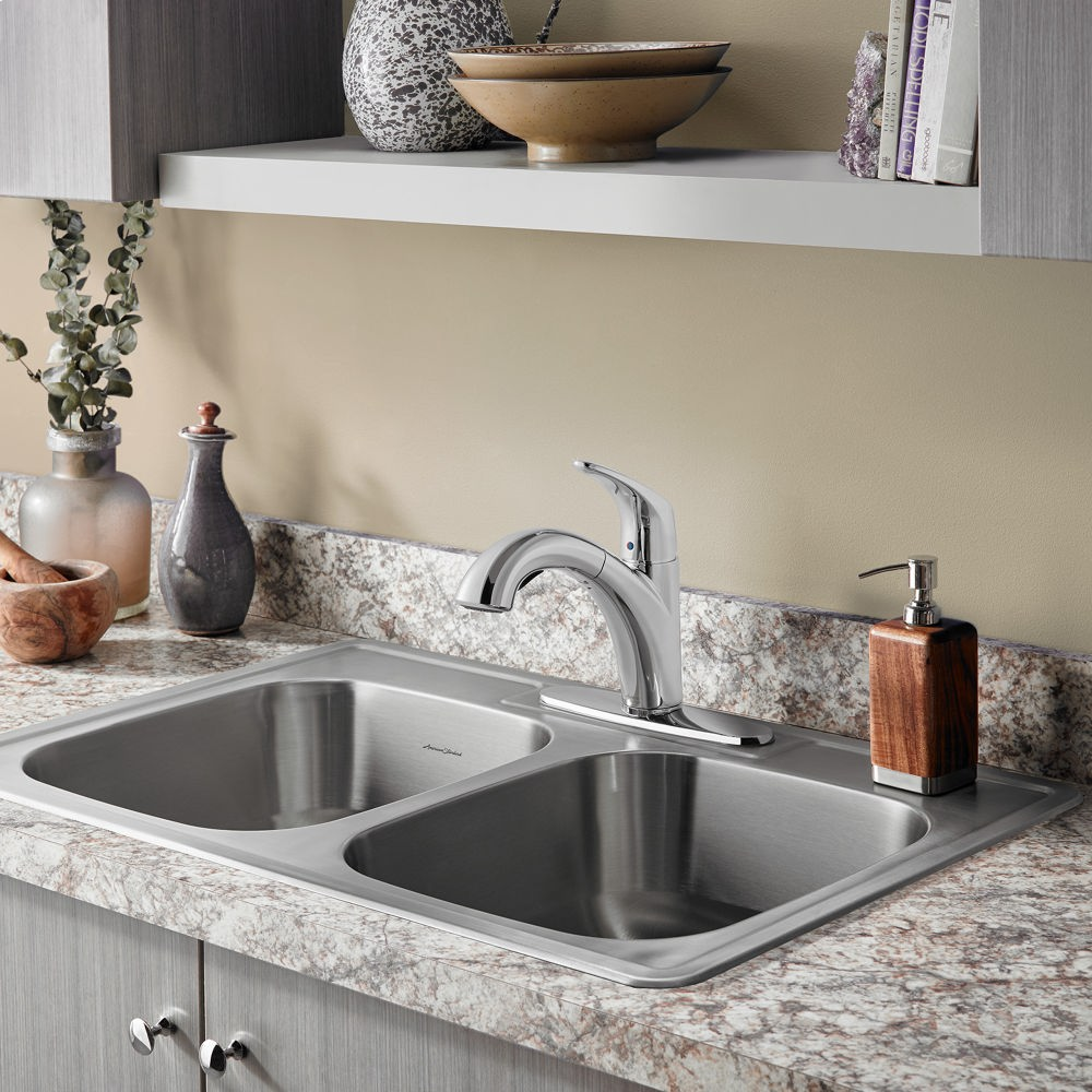 Colony Top Mount ADA 33x22 Double Bowl Stainless Steel 4 Hole Kitchen Sink  American Standard