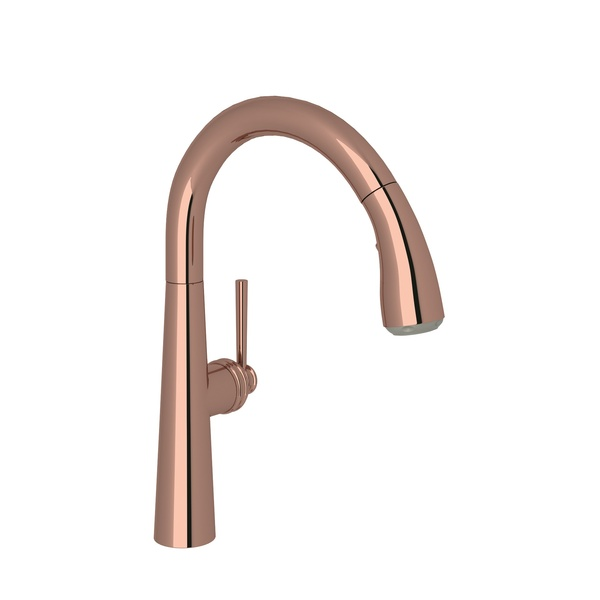 Rose Gold Lux Pull-Down Bar/Food Prep Faucet with Lux Metal Lever