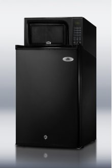 Refrigerator-microwave combination in black with auto defrost locking all-refrigerator