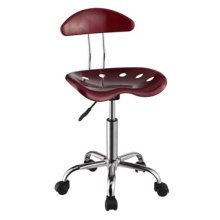 Dark Red & Chrome Adjustable Height Rolling Chair - 2 pcs in 1 carton