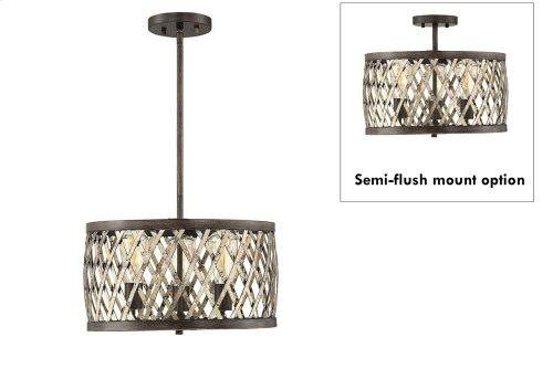Sandoval 3 Light Convetible Semi-Flush