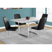 """DINING TABLE - 36""""X 60"""" / GREY CEMENT / CHROME METAL"""