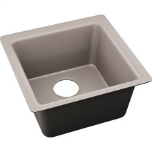 "Elkay Quartz Luxe 15-3/4"" x 15-3/4"" x 7-11/16"", Single Bowl Dual Mount Bar Sink, Silvermist"