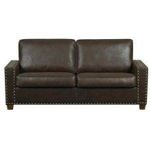 Rustic Walnut Faux Leather Two Cushion Sofa
