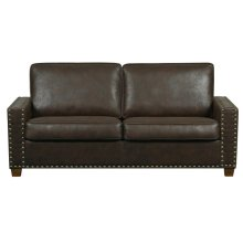 Faux Leather KD Sofa in Walnut