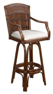 Tahiti Indoor Swivel Bamboo & Rattan Bar Stool in Antique Finish with Cushion Product Image