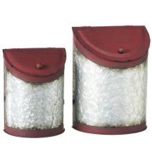 Distressed Red & Galvanized Decorative Wall Canister (2 pc. set)