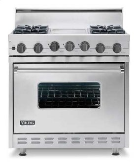 "Cotton White 36"" Sealed Burner Self-Cleaning Gas Range - VGSC (36"" wide range with four burners with griddle/simmer plate)"