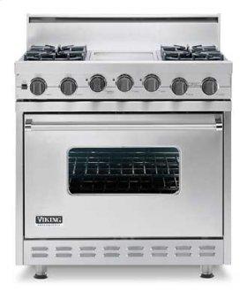 "Metallic Silver 36"" Sealed Burner Self-Cleaning Gas Range - VGSC (36"" wide range with six burners)"